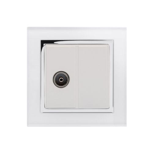 RetroTouch Single TV Coax Socket White Glass CT 04351